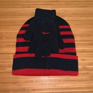 ac9bed27e6e81 Nike Accessories - New Nike swoosh red black beanie hat   gloves set!